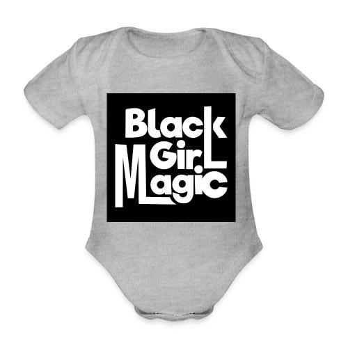 Black Girl Magic 2 White Text - Organic Short-sleeved Baby Bodysuit