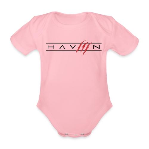 Logo Zwart - Baby bio-rompertje met korte mouwen
