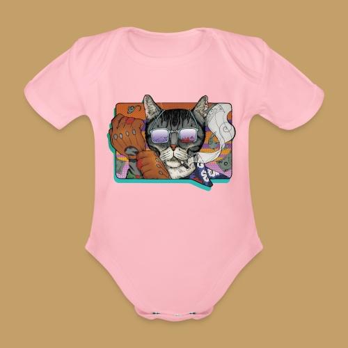 Crime Cat in Shades - Ekologiczne body niemowlęce z krótkim rękawem
