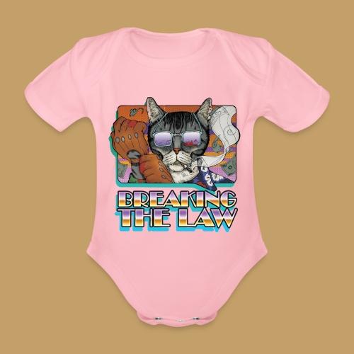 Crime Cat in Shades - Braking the Law - Ekologiczne body niemowlęce z krótkim rękawem