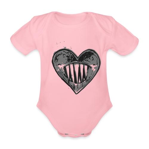 Corazón Negro - Body orgánico de maga corta para bebé