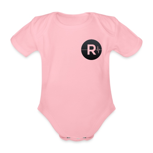REVIVED Small R (Black Logo) - Organic Short-sleeved Baby Bodysuit