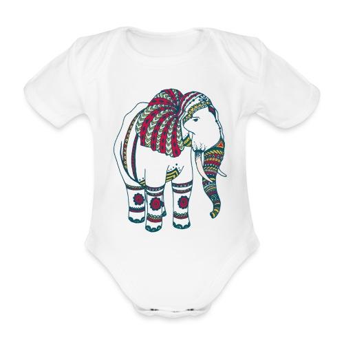 Colorful elephant - Organic Short-sleeved Baby Bodysuit