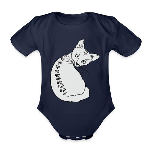 Gray kitten - Organic Short-sleeved Baby Bodysuit