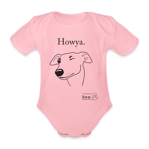 Howya Greyhound in black - Organic Short-sleeved Baby Bodysuit