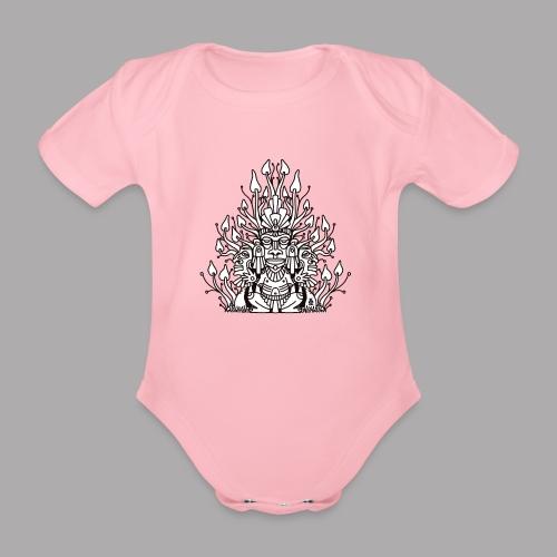 Shroomy man black - Organic Short-sleeved Baby Bodysuit