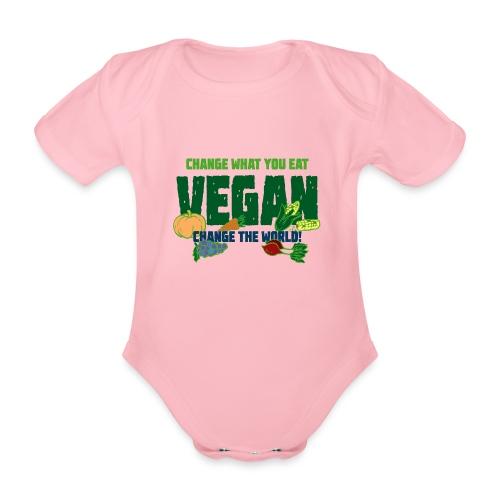 Vegan - Change what you eat, change the world - Organic Short-sleeved Baby Bodysuit