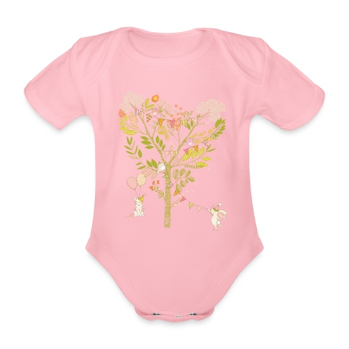 rabbit Party - Organic Short-sleeved Baby Bodysuit