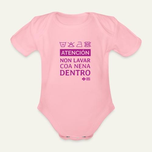 Non lavar coa nena dentro - Body orgánico de maga corta para bebé