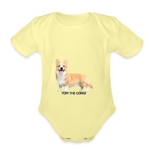 Topi the Corgi - Black text - Organic Short-sleeved Baby Bodysuit
