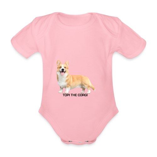 Topi the Corgi - Black text - Organic Short-sleeved Baby Bodysuit