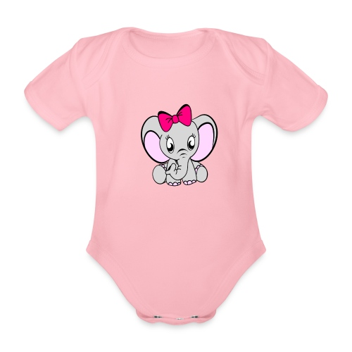 Baby meisje Olifant met grote strik - Baby bio-rompertje met korte mouwen