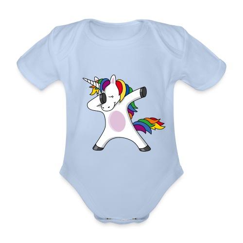 Dabbing Einhorn Dab Regenbogen schwanger Baby - Baby Bio-Kurzarm-Body