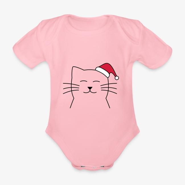 Katze Weihnachtsmann Nikolaus Weihnachten Geschenk Baby Bio Kurzarm Body