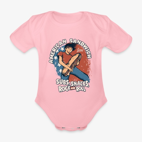 American Sandwich Rocker auf Farbe - Baby Bio-Kurzarm-Body