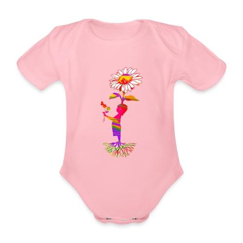 bloemenkind - Baby bio-rompertje met korte mouwen