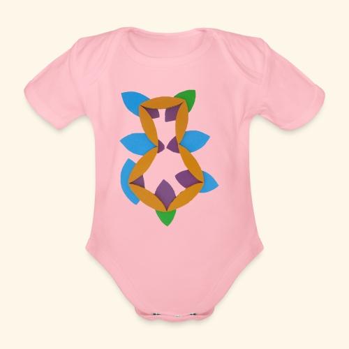 oranjeblanjebleu - Baby bio-rompertje met korte mouwen