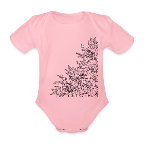 FLORES - Body orgánico de manga corta para bebé