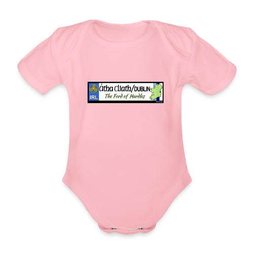 CO. DUBLIN, IRELAND: licence plate tag style decal - Organic Short-sleeved Baby Bodysuit