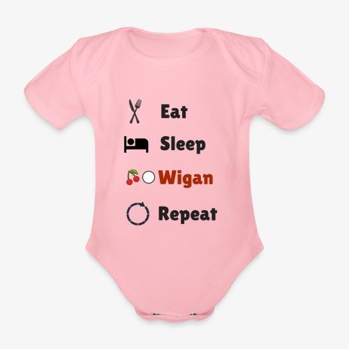 Eat Sleep Wigan Repeat - Organic Short-sleeved Baby Bodysuit