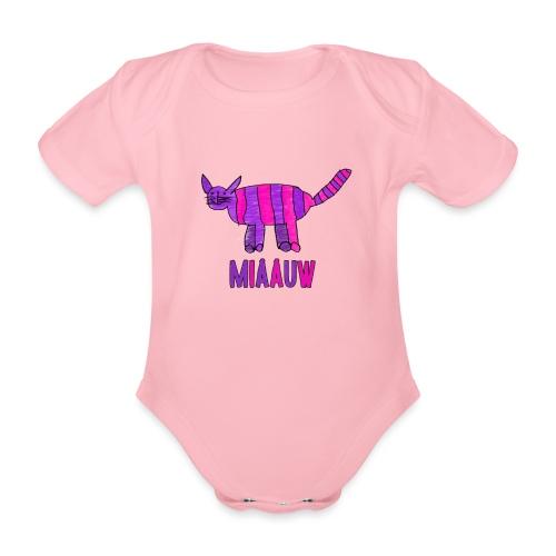 miaauw, paarse poes - Baby bio-rompertje met korte mouwen