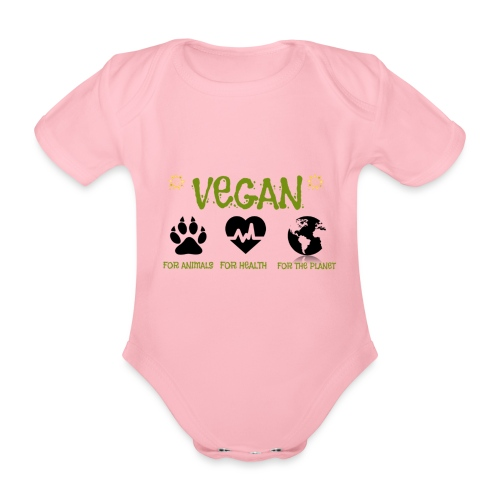 Vegan for animals, health and the environment. - Organic Short-sleeved Baby Bodysuit