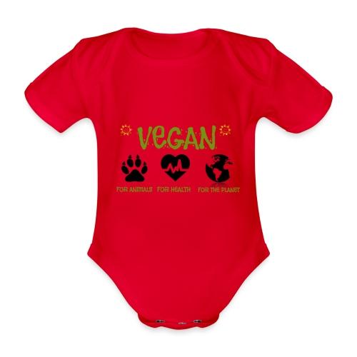 Vegan for animals, health and the environment. - Body orgánico de manga corta para bebé