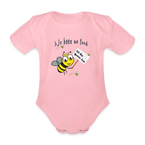 Save the bees with this cute design! Red de bij - Baby bio-rompertje met korte mouwen