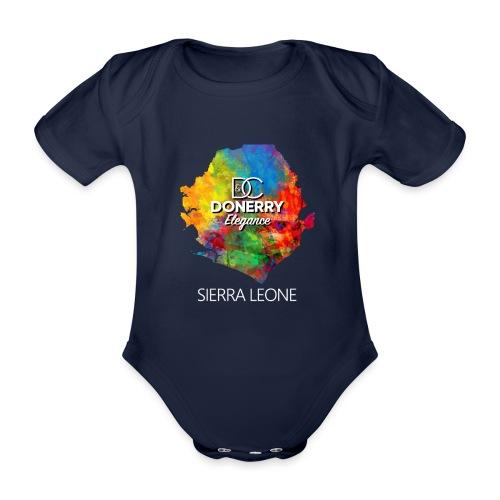 Sierra Leone Colourful Map Dark - Organic Short-sleeved Baby Bodysuit
