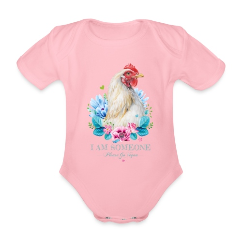 Hen with flowers - Organic Short-sleeved Baby Bodysuit