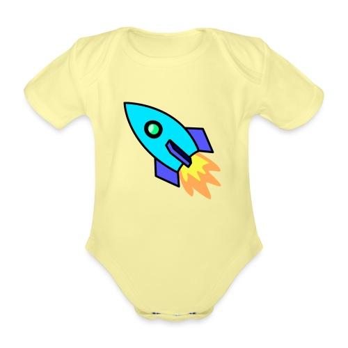 Blue rocket - Organic Short-sleeved Baby Bodysuit
