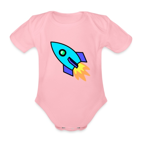 Blue rocket - Organic Short-sleeved Baby Bodysuit