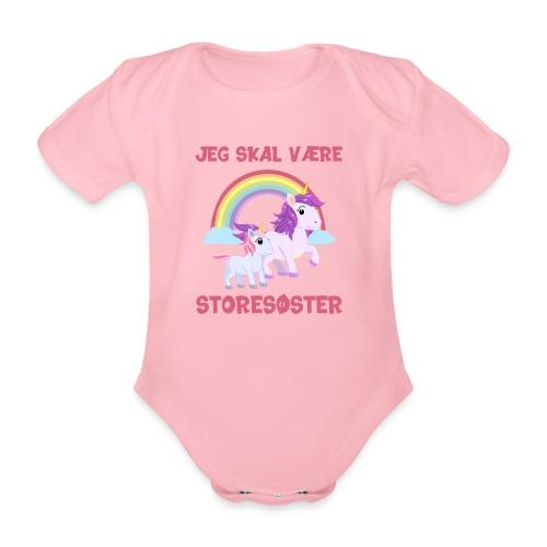 Jeg skal være storesøster enhjørning gave fødsel - Kortærmet babybody, økologisk bomuld