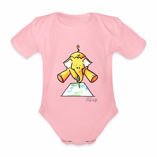 Ellafant malt Klangbild mit Stift - Baby Bio-Kurzarm-Body