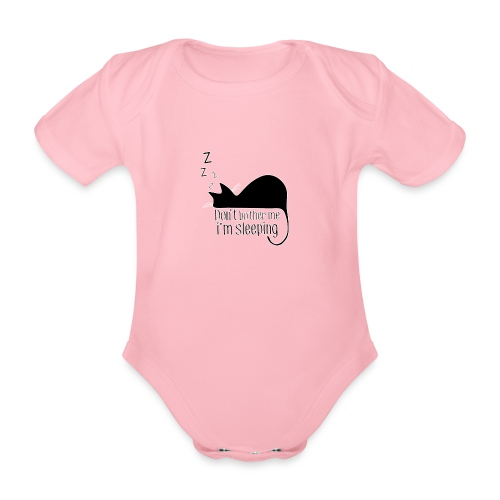 Sleeping cat black - Organic Short-sleeved Baby Bodysuit