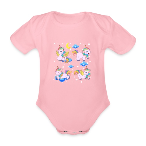 Enhörningar - Ekologisk kortärmad babybody