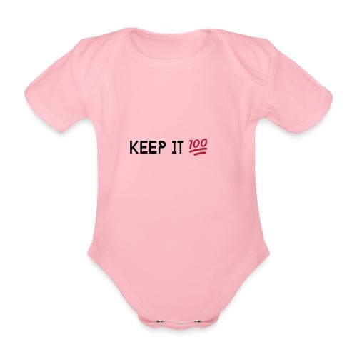 KEEP IT 100 ZWART png - Baby bio-rompertje met korte mouwen