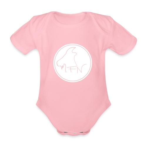 FN-Logo Weiss - Baby Bio-Kurzarm-Body