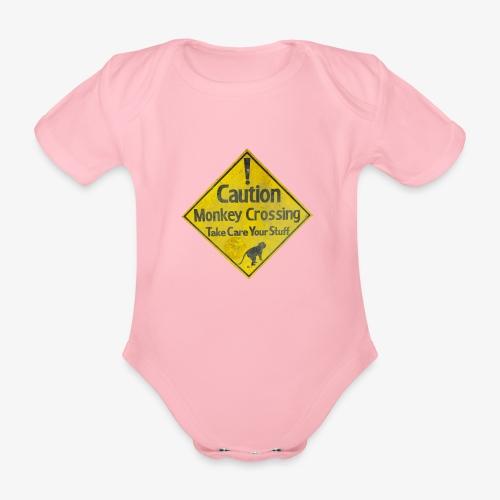 Caution Monkey Crossing - Baby Bio-Kurzarm-Body