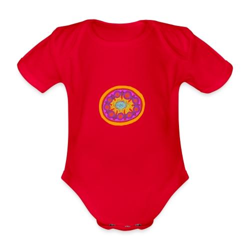 Mandala Pizza - Organic Short-sleeved Baby Bodysuit
