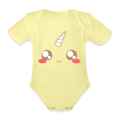 Kawaii_T-unicorn_EnChanta - Organic Short-sleeved Baby Bodysuit
