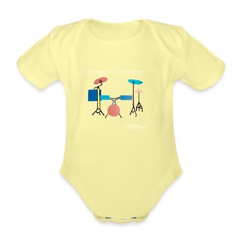 Azia Drum White - Organic Short-sleeved Baby Bodysuit
