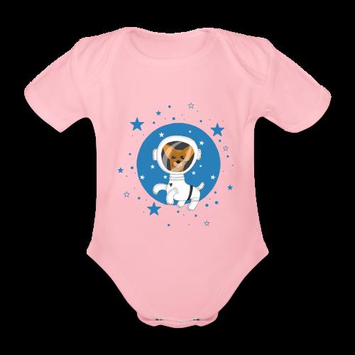 Kleiner Hund im Weltall - Baby Bio-Kurzarm-Body