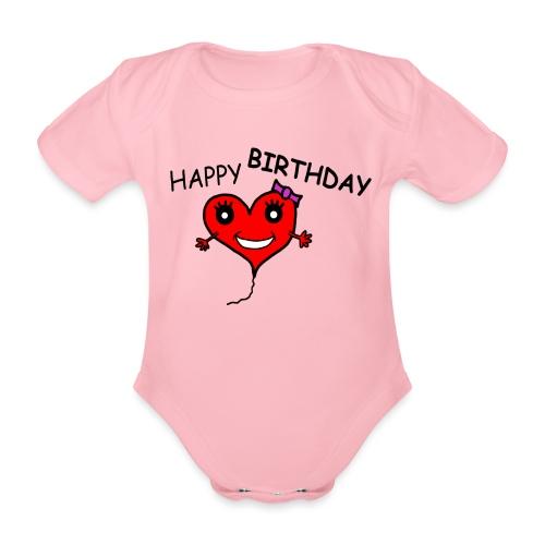 Herz Smiley Geburtstag - Baby Bio-Kurzarm-Body