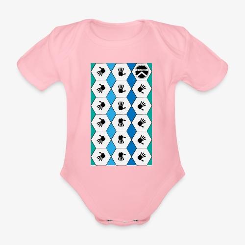 |K·CLOTHES| HEXAGON ESSENCE BLUES & WHITE - Body orgánico de maga corta para bebé