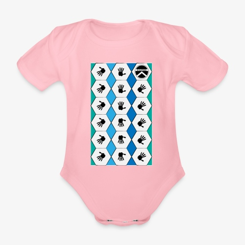 |K·CLOTHES| HEXAGON ESSENCE BLUES & WHITE - Body orgánico de manga corta para bebé