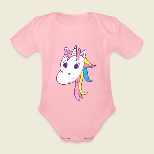 Einhorn Unicorna lila weiß bunte Mähne - Baby Bio-Kurzarm-Body