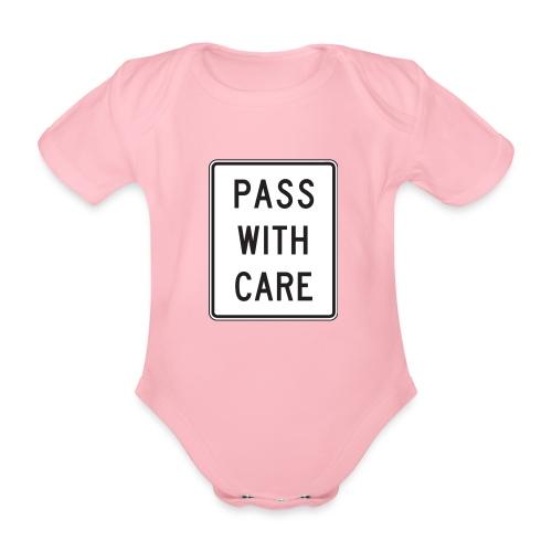Voorzichtig passeren - Baby bio-rompertje met korte mouwen