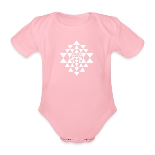 Valkoinen Shri Yantra -kuvio - Vauvan lyhythihainen luomu-body