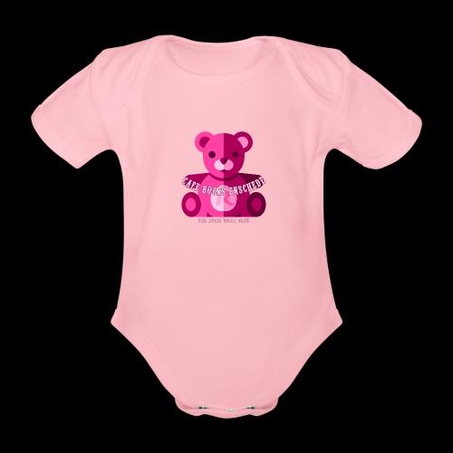 Rocks Teddy Bear - Pink - Baby bio-rompertje met korte mouwen